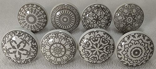 Zoya's 10 Mixed Grey Shabby Chic Ceramic Cupboard Knobs Drawer Pull Kitchen K-203A