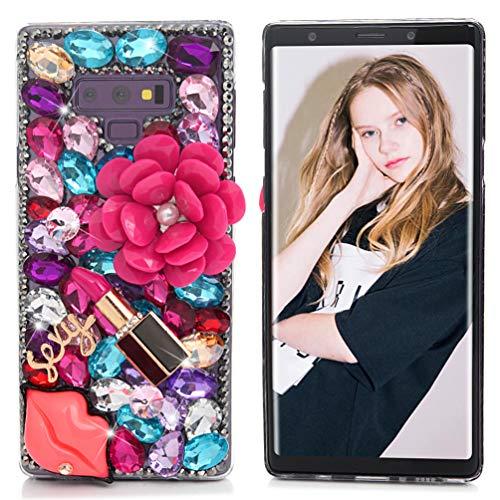 Maviss Diary Galaxy Note 9 Case, Full Edge 3D Handmade Luxury Bling Crytal Fashion Design Shiny Gem Pearl Rhinestone Diamond Clear Hard Protective Plastic PC Cover - Lips