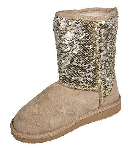 Gold Sequin Boots (Lustacious Women's Casual Round Toe Pull On Flat Ankle Boots with Faux Fur Interior, gold sequin, 8 M)