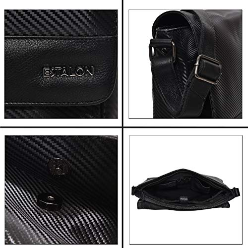 Laptop Side Bag – Black Leather Adjustable Messenger Bag for Men and Women