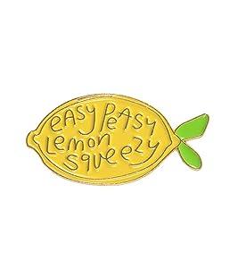 ink2055 Cartoon Lemon Enamel Letters Brooch Pin Badge for Sweater T-Shirt Dress Bags Women Men Denim Backpack Decor Party Badge - Yellow