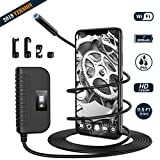 Wireless Endoscope, PICTEK Waterproof WIFI Borescope Inspection Camera with 3-500CM Focal Length 2600mAh Rechargeable Battery and 2.0 Megapixels , Semi-Rigid Endoscope for Android & iOS Smart Phone Like iPhone/Samsung etc
