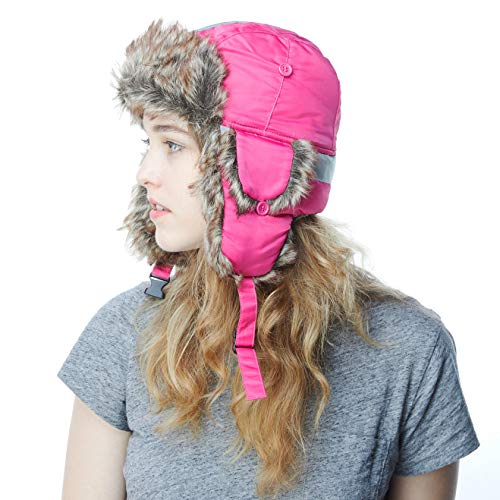 Faux Fur Safety Reflective Aviator Trapper Hat Snow Ski Trooper Winter Cap (Adult, Hot Pink)