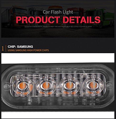 FEZZ 2pcs Luz Estrobosc/ópica 4 LED Advertenvia Emergencia Faro Barra Intermitente /Ámbar para Coche Veh/ículo Cami/ón Remolque Caravana