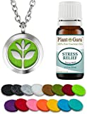 "Plant Guru Essential Oil Diffuser Necklace Set Kit With Stress Relief Blend 10 ml., 25mm Stainless Steel Locket Pendant with 24"" Adjustable Chain, 15 Washable Refill Felt Pads. Aromatherapy Jewelry"
