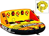 MESLE Tube Package Formula 3, with 3P Towrope, Towable-Couch, Fun-Tube, yellow-orange, Multirider for 3 Person, Family, Kids, 195cm x 185cm, inflatable, Boat-ing, Climbing Assistance