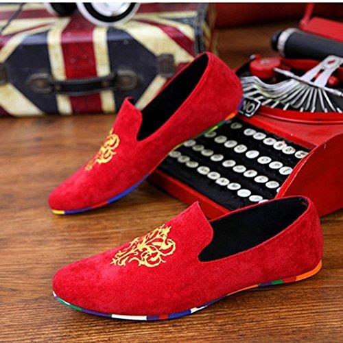 Loafers Bordado Mocasines Aardimi Zapatos Casual Conducción Pisos De Hombres Zapatillas Gamuza Rojo YEU5Uq