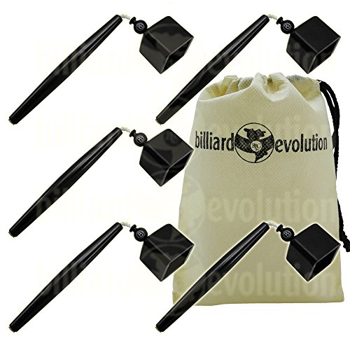Set of 5 Black Pocket Chalk Holders with Billiard Evolution Drawstring Bag