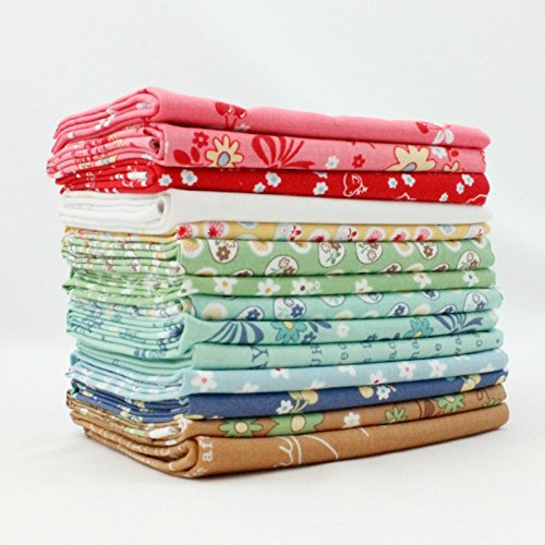 Riley Blake Calico Days Fat Quarter Bundle (14 pcs) - Lori Holt 9 x 43 inches (22.86cm x 109.22cm) DIY quilt fabric - Calico Quilt Shop