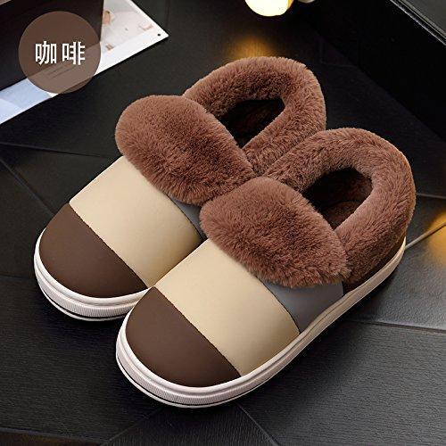 Cotone habuji pantofole donna invernale spessa carino indoor e outdoor sacchetto impermeabile con caldo caldo cotone stivali uomini, 44-45, caffè