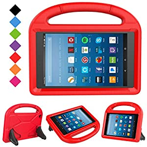 LTROP All-New Fire HD 8 2017 Case - Light Weight Shock Proof Convertible Ultra-Slim Kid-Proof Cover Kids Case for All-New Fire HD 8 Tablet (7th Generation, 2017 Release), Red