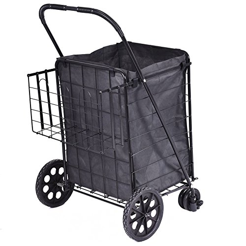 [1 PC Folding Shopping Cart Jumbo Swivel Wheels Extra Basket Trolley Grocery Laundry Ship from USA] (Make Lego Costume Legs)