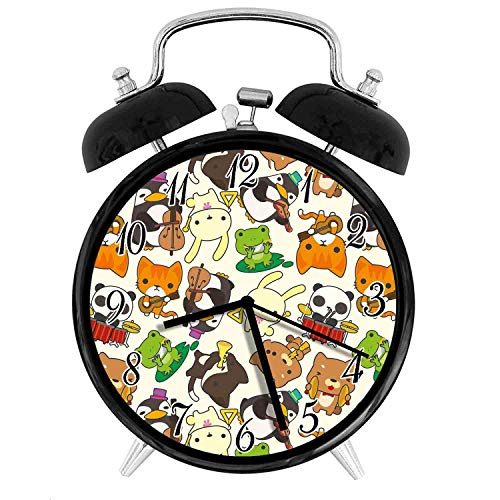 (22yiihannz Nursery Silent Alarm Clock - 3.8inch, Animal Music Band Penguin on Cello Cat on Guitar Panda on Drums,Retro Double Bell Appearance, Loud Ringing, Soft Night Light.)