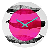 Deny Designs Elisabeth Fredriksson, Whales Pink, Round Clock, Round, 12''