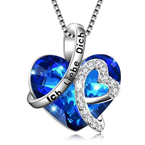 """Kette Herz Sterling Silber""""Ich liebe dich für immer"""" Halskette Damen Anhänger mit Geburtsstein Kristallen"""