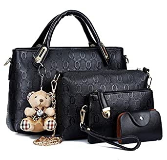 Bear pendant four pieces suit handbag shoulder bag PU leather black bag