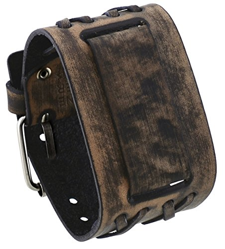 Nemesis #DXB-K 24mm Lug Width Wide Cris Cross Distressed Brown Leather Cuff Wrist Watch Band