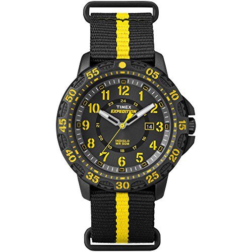 Timex Men's TW4B05300 Expedition Gallatin Black/Yellow Nylon Slip-Thru Strap (Resin Expedition Watch)