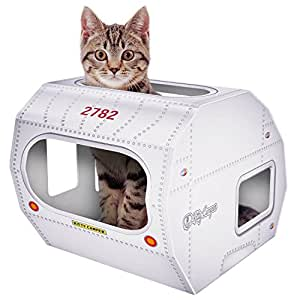 Moggiez & Doggiez No 1 Rated – Cat Toys & Playhouse- Best Indoor Cardboard Cat House & Toy – Now with Corrugated Scratcher Lounge Base, FREE Mouse & Feather Toy – Bonus Ebook