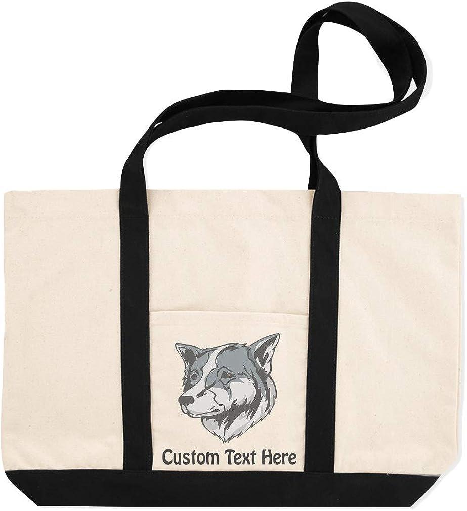 Canvas Shopping Tote Bag Thai Bangkaew Dog Head Thai Bangkaew Dog Beach Bags for Women