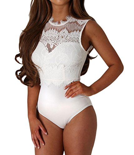 Lace Spandex Bodysuit (Shawhuwa Womens Sexy Floral Lace High Neck Cut Out Back Bodysuit Tops L)