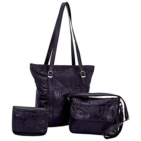 New Embassy Black Genuine Leather 3pc Large Small Cosmetic Purse Set ... 00c87990d399