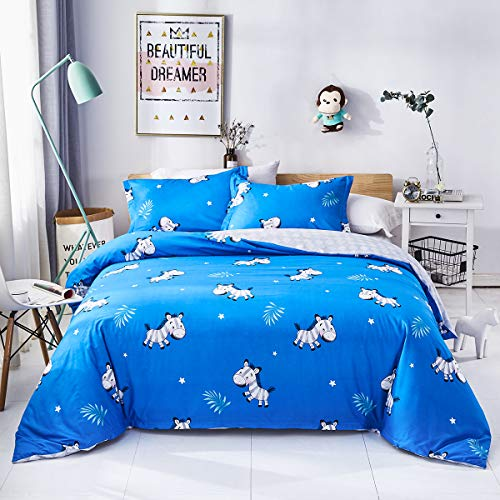 Wilebo Lightweight Microfiber Duvet Cover Set for Kids Baby Youth Children, Reversible Lovely Animal Printed Bedding Set with Pillow Shams, 2 Piece Set (Zebra,Twin Size) (Twin Zebra Duvet Cover)