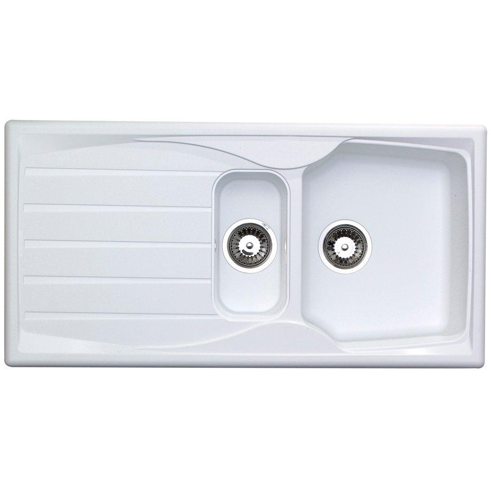 Astracast Sierra 1.5 Bowl Reversible Teflite Kitchen Sink in White ...