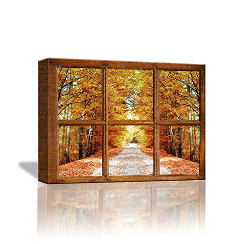 Framed Window Windows - VanBest 3D Maple Leaf Fake Window Canvas Framed Painting Artwork for Home Living Room Bedroom Office Hang Poster Wall Art Decoration
