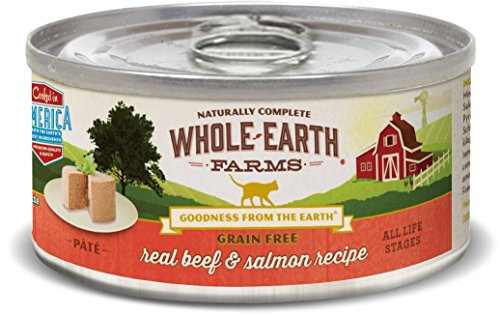Whole Earth Farms Grain Free Real Beef & Salmon Pate Wet Cat Food, 5 Oz, Case Of 24