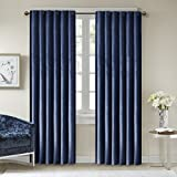 Cheap Comfort Spaces Poly Velvet Window Curtain Pair 4pc set – Dark Blue – 50×84 Inch Panel – Energy Efficient Saving – Curtain Rod Pocket – Include 2 Panels and 2 Tiebacks