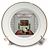 3dRose Beverly Turner Administrative Professionals Day - Administrative Professionals Day, Office, Window, Desk, Computer, Cup - 8 inch Porcelain Plate (cp_282070_1)