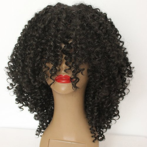 PlatinumHair Fashion Style Black Kinky Curly Wigs Synthetic None Lace Wigs Heavy Density Glueless Synthetic Wigs (Best Synthetic Wigs)