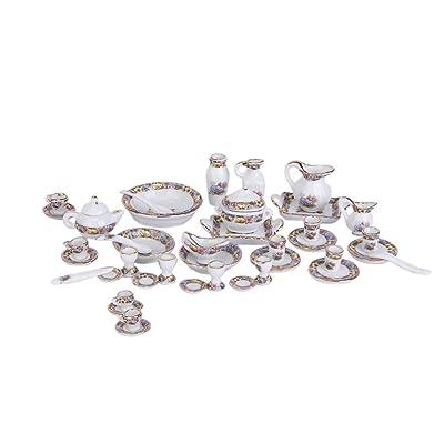 40Pcs Miniatures Meubles Maison De Poupée Ancienne Kit ?Th?en Porcelaine