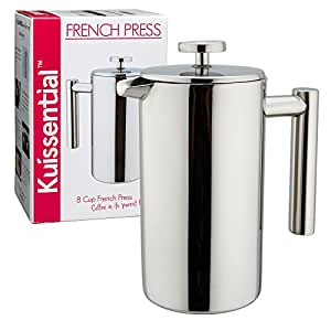 Stainless Steel French Press Coffee Maker, 34oz, Double Wall Insulated Espresso & Tea Maker