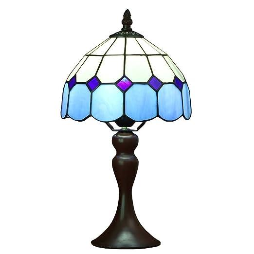 Bieye L30041 Lámpara de mesa estilo vitral, estilo mediterráneo Tiffany, de 8 pulgadas,