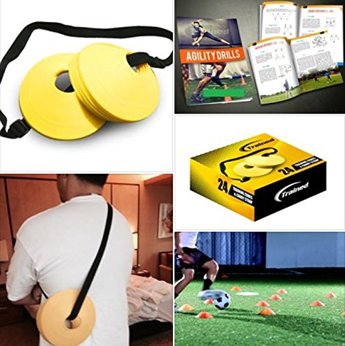 Trained Sports Set of 24 Soccer Cones, 2 Inch, Free Shoulder Carry Strap and Free Agility Drills eBook (Yellow) Lifetime Guarantee