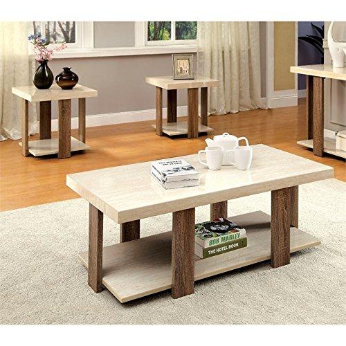 light oak coffee table set - 4