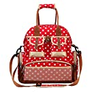 MOONWALK Polka Dot Baby Mummy Nappy Changing Diaper Tote Backpack Expectant Shoulder Bag Handbag Large (Red)