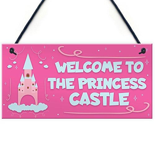 Princess Castle Hanging Plaque Door Playroom Bedroom Sign Gift Baby Girls Fairytale Decor