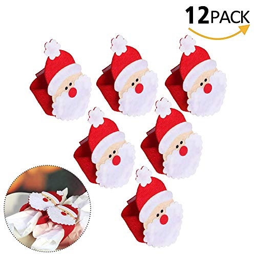 Santa Napkin Ring - QTKJ Set of 12pcs Cute Santa Napkin Ring, Napkin Buckle for Christmas,Wedding, Holidays, Parties, Dinners Decor(Red)