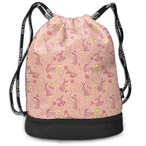 Fashion Gym Gift Printed Drawstring Backpacks Bags,Bunnies With Flowers Pastel Spring Flora And Fauna Illustration,Adjustable String Closure For Men And Women ()