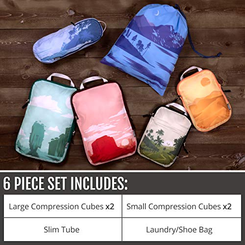 Packing Cubes Travel Organizer- Compression Packing Cubes for Carryon Luggage (Graphic, 6Piece)