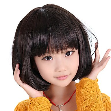 Hjl Capless Bob Haircut Style Childrens Wig Black Amazon