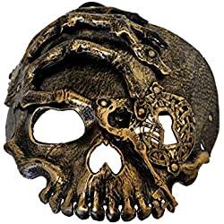 Arsimus Pirate Skeleton Steampunk Mask Adult with Elastic Band (Gold)