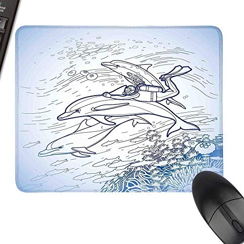 Sea Animals Thicken Mouse Pad Sketch of Scuba Diver Holding Fin of Dolphin Over Coral Reefs Fish Underwater for Computers, Laptop, Office & Home 11.8