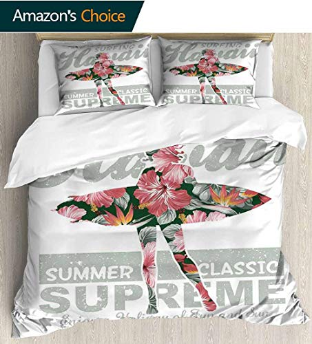 carmaxs-home Hawaiian Cotton Bedding Sets,Tropical Hawaii Hibiscus Surfing Girl Silhouette Surfboard Retro Themed Artprint Kids Bedding-Does Not Shrink or Wrinkle(87
