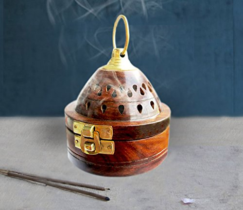 Handmade Wooden Classic Mughal Inspired Pyramid Incense Cone Dhoop Burner Holder With Top Cone Shape Incense Burner Box (Brown)