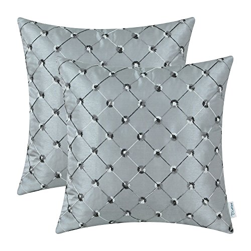 CaliTime Pack of 2 Cushion Covers Throw Pillow Cases Shells for Home Sofa Couch 20 X 20 Inches, Modern Diamonds Shape Geometric Chain Embroidered, Gray (Diamond Sofa Accent)