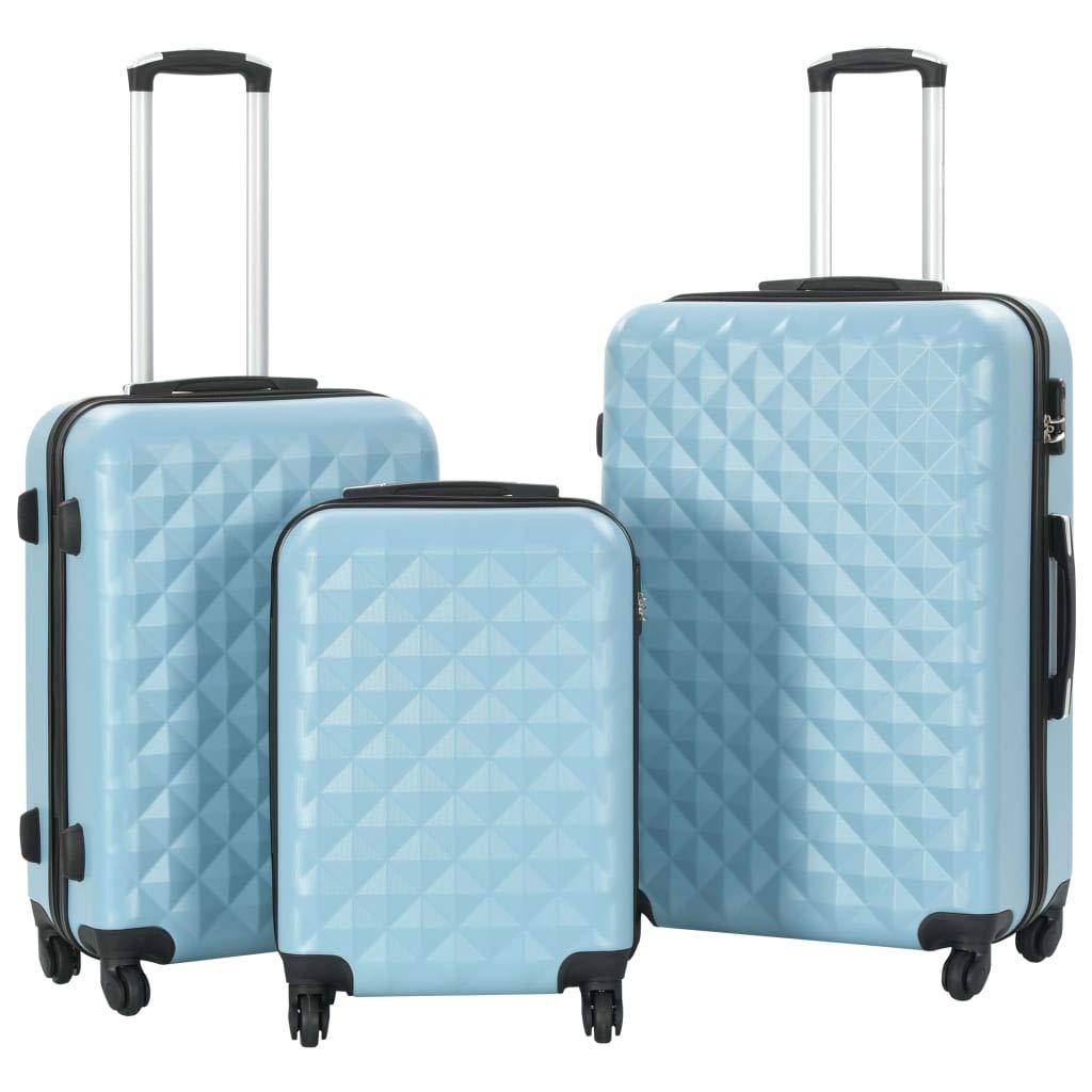 VidaXL Lot de 3 valises rigides /à roulettes l/ég/ères avec Serrure de s/écurit/é /à 360 /° bo/îte de Rangement en ABS Bleu Sangle de Rangement de Bagages Sac de Rangement de Bagages